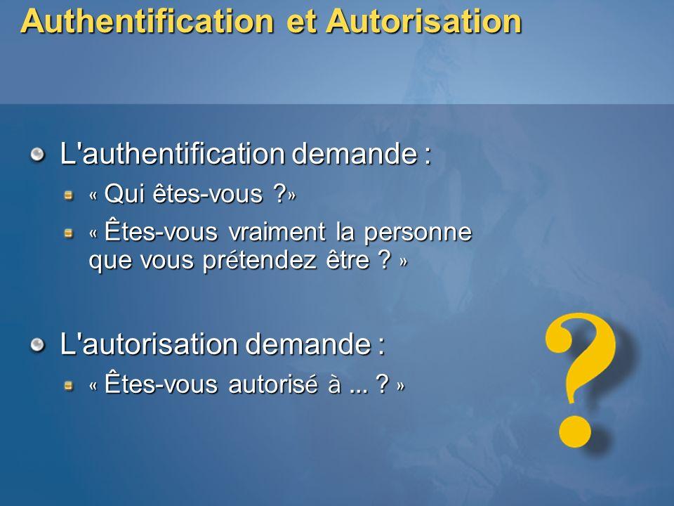 Authentification et Autorisation L'authentification demande : « Qui êtes-vous ? » « Êtes-vous vraiment la personne que vous pr é tendez être ? » L'aut