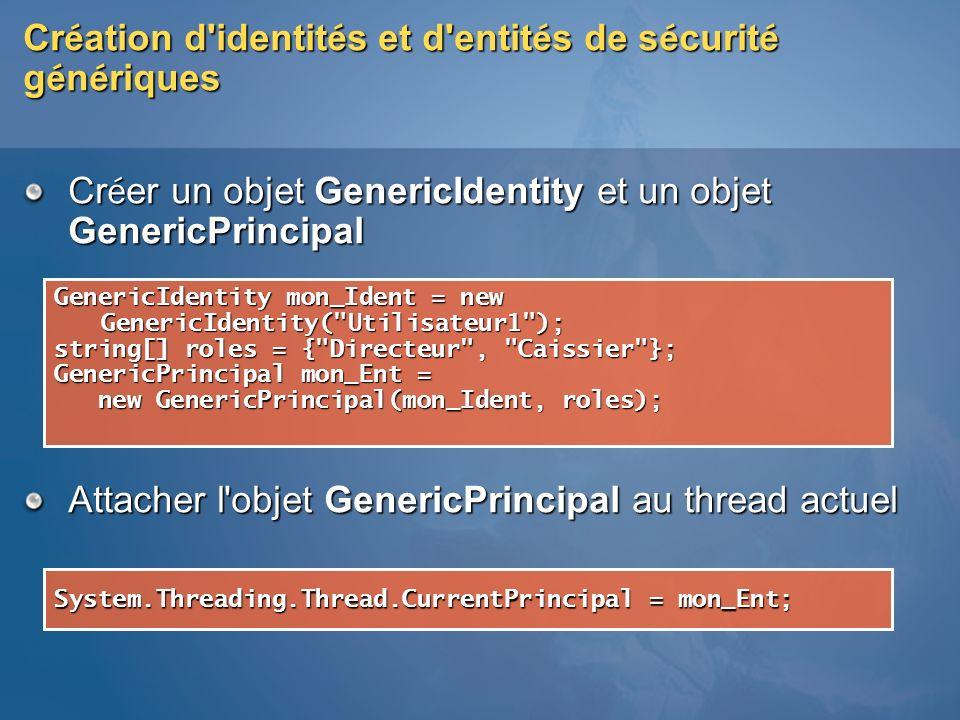 Cr é ation d'identit é s et d'entit é s de s é curit é g é n é riques Cr é er un objet GenericIdentity et un objet GenericPrincipal Attacher l'objet G
