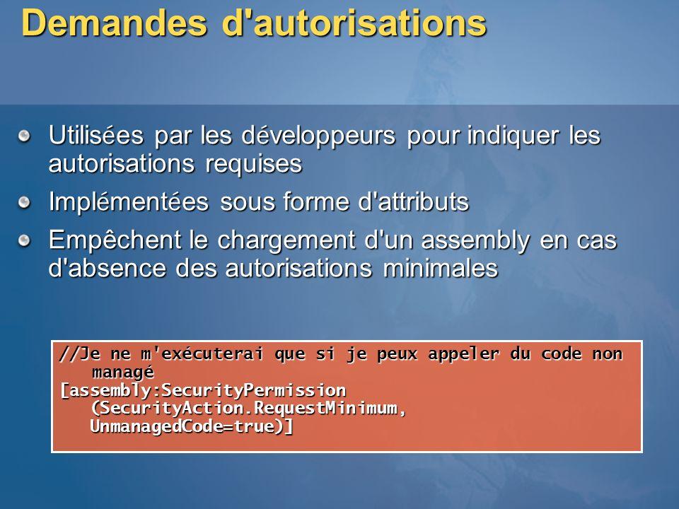 Demandes d'autorisations Utilis é es par les d é veloppeurs pour indiquer les autorisations requises Impl é ment é es sous forme d'attributs Empêchent
