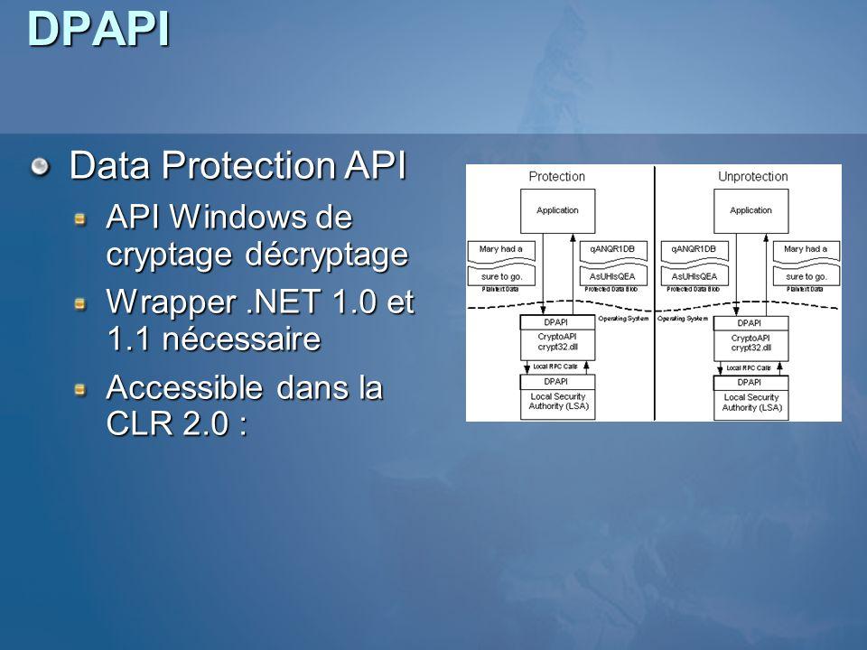 DPAPI Data Protection API API Windows de cryptage décryptage Wrapper.NET 1.0 et 1.1 nécessaire Accessible dans la CLR 2.0 :