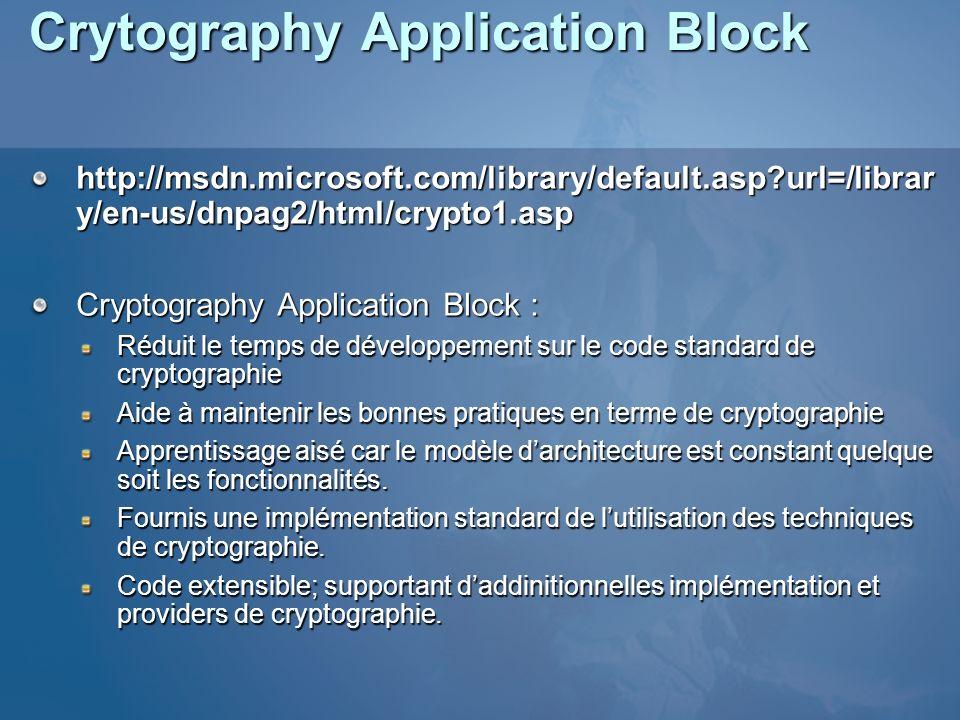 Crytography Application Block http://msdn.microsoft.com/library/default.asp?url=/librar y/en-us/dnpag2/html/crypto1.asp Cryptography Application Block