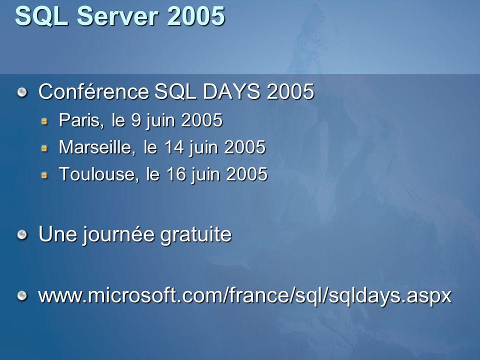 SQL Server 2005 Conférence SQL DAYS 2005 Paris, le 9 juin 2005 Marseille, le 14 juin 2005 Toulouse, le 16 juin 2005 Une journée gratuite www.microsoft