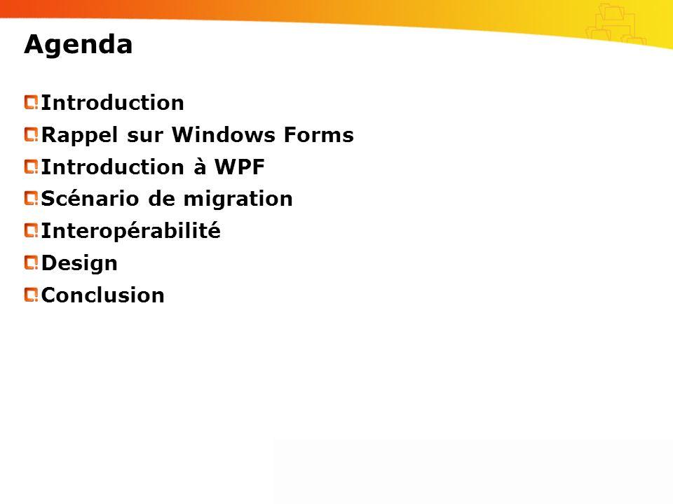 Agenda Introduction Rappel sur Windows Forms Introduction à WPF Scénario de migration Interopérabilité Design Conclusion