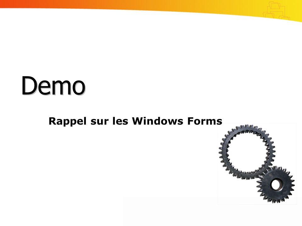 Rappel sur les Windows Forms Demo