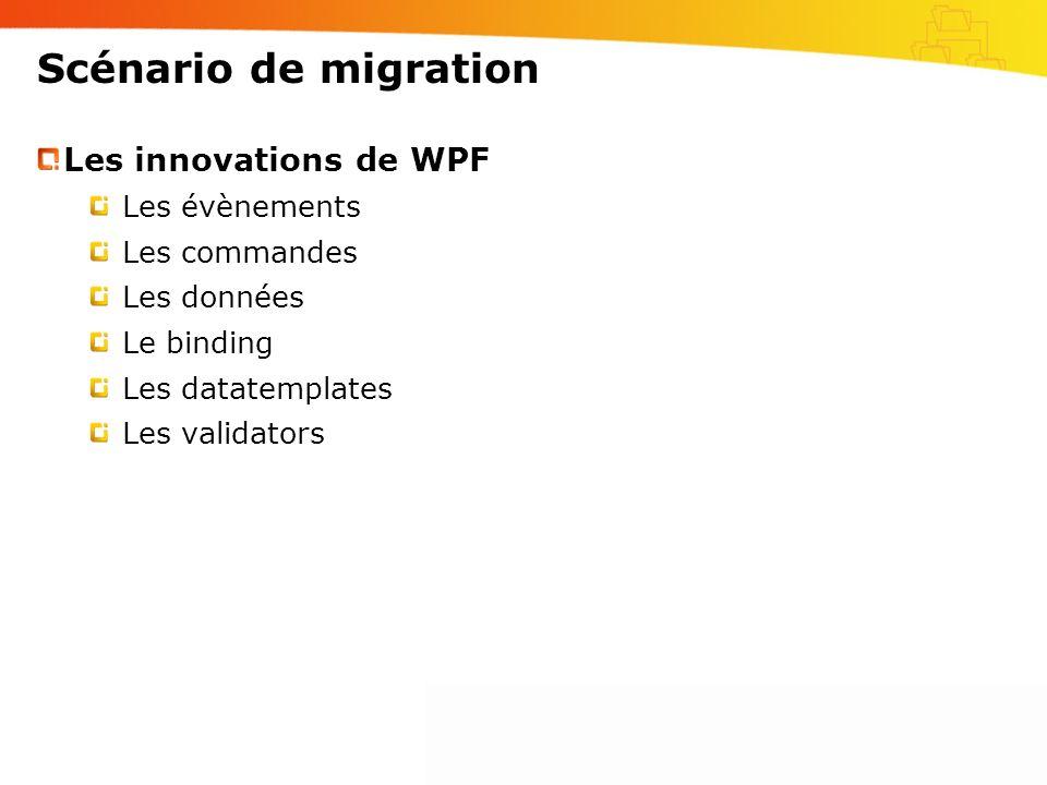 Scénario de migration Les innovations de WPF Les évènements Les commandes Les données Le binding Les datatemplates Les validators