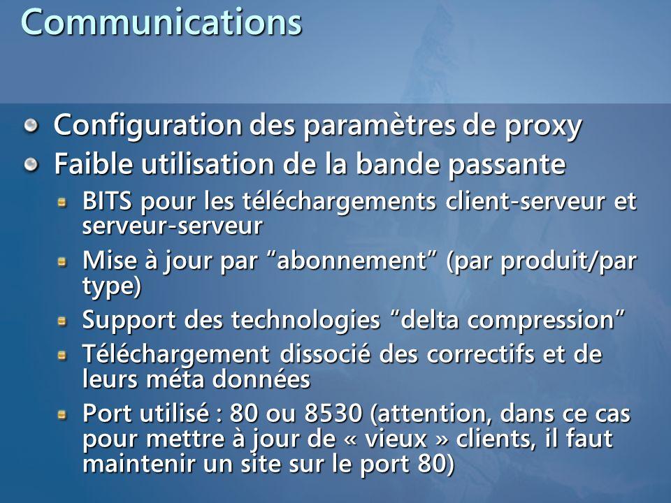 Communications Configuration des paramètres de proxy Faible utilisation de la bande passante BITS pour les téléchargements client-serveur et serveur-s