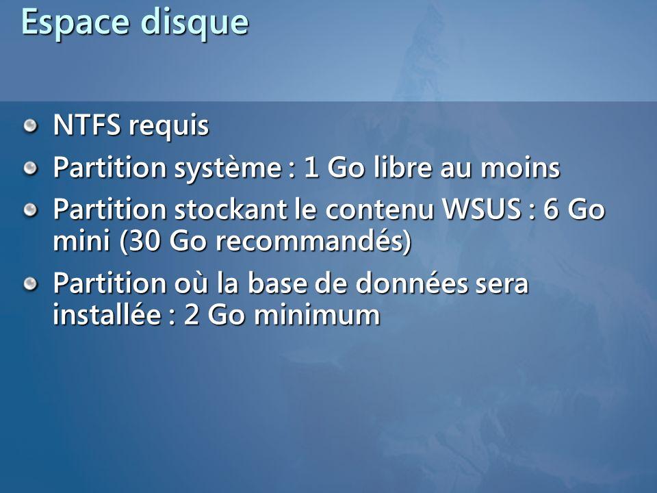 Espace disque NTFS requis Partition système : 1 Go libre au moins Partition stockant le contenu WSUS : 6 Go mini (30 Go recommandés) Partition où la b