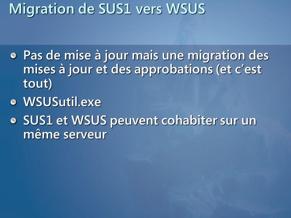 Migration de SUS1 vers WSUS Pas de mise à jour mais une migration des mises à jour et des approbations (et cest tout) WSUSutil.exe SUS1 et WSUS peuven