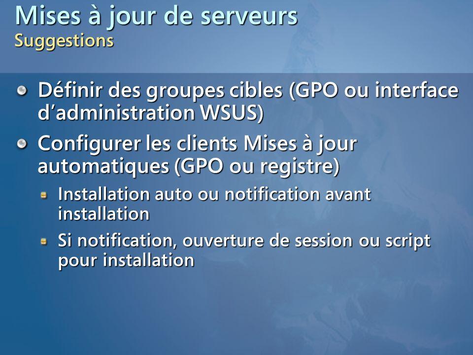 Mises à jour de serveurs Suggestions Définir des groupes cibles (GPO ou interface dadministration WSUS) Configurer les clients Mises à jour automatiqu