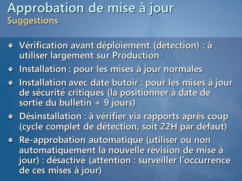 Approbation de mise à jour Suggestions Vérification avant déploiement (détection) : à utiliser largement sur Production Installation : pour les mises