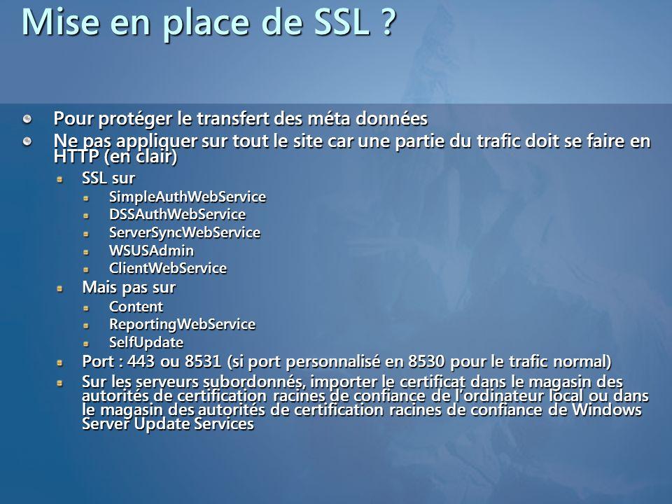 Mise en place de SSL ? Pour protéger le transfert des méta données Ne pas appliquer sur tout le site car une partie du trafic doit se faire en HTTP (e