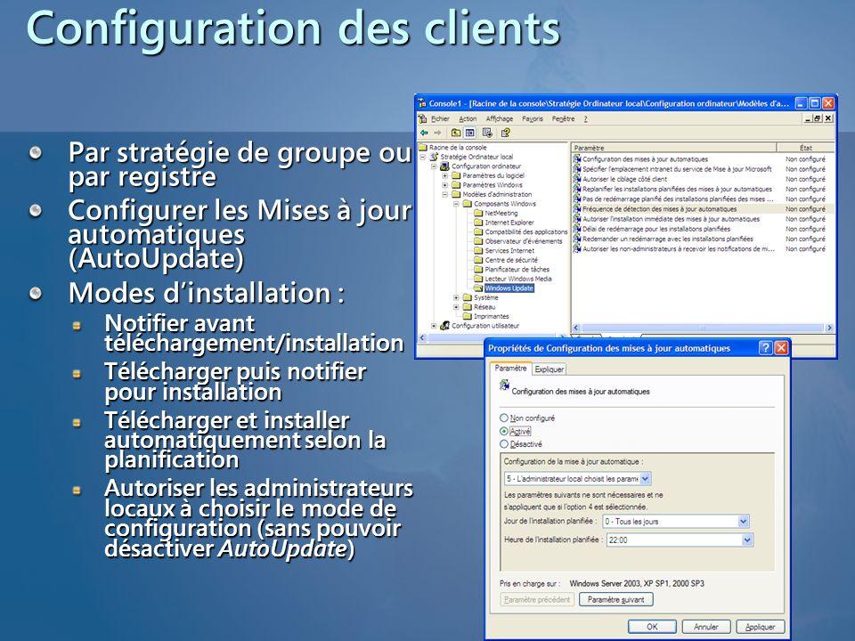 Configuration des clients Par stratégie de groupe ou par registre Configurer les Mises à jour automatiques (AutoUpdate) Modes dinstallation : Notifier