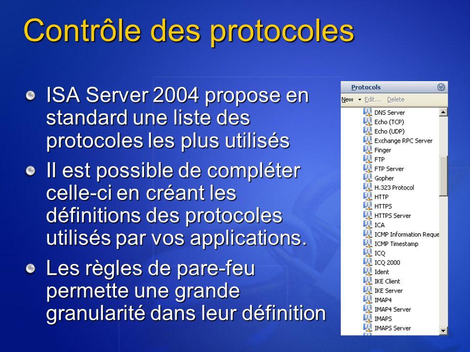 Contrôle des protocoles ISA Server 2004 propose en standard une liste des protocoles les plus utilisés Il est possible de compléter celle-ci en créant