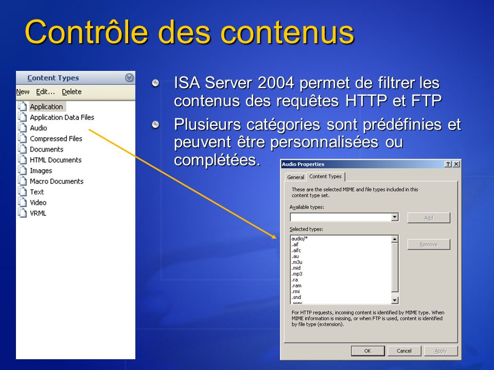 Contrôle des contenus ISA Server 2004 permet de filtrer les contenus des requêtes HTTP et FTP Plusieurs catégories sont prédéfinies et peuvent être pe