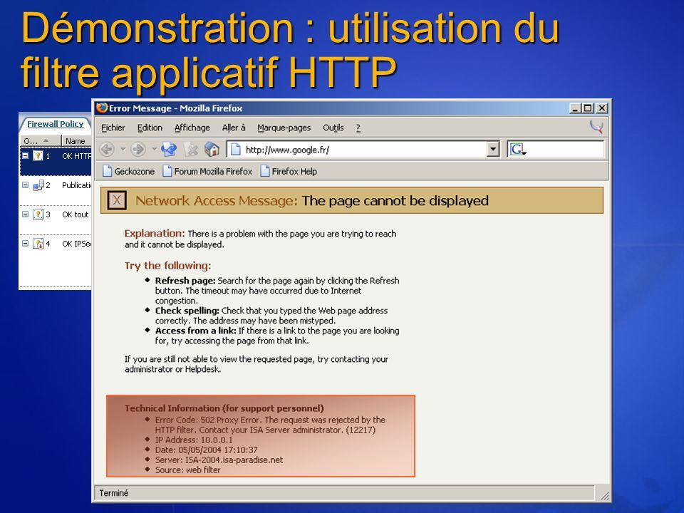 Démonstration : utilisation du filtre applicatif HTTP