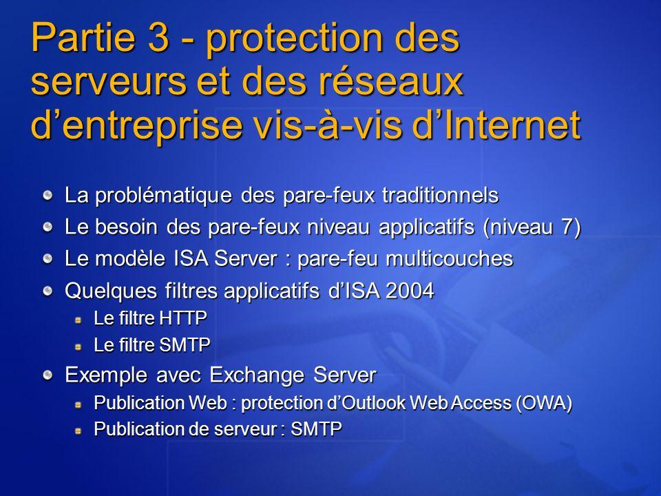 Partie 3 - protection des serveurs et des réseaux dentreprise vis-à-vis dInternet La problématique des pare-feux traditionnels Le besoin des pare-feux