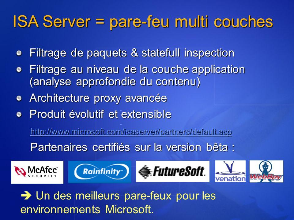 Filtrage de paquets & statefull inspection Filtrage au niveau de la couche application (analyse approfondie du contenu) Architecture proxy avancée Pro