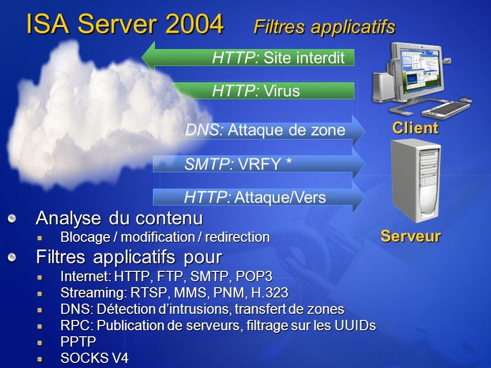 ISA Server 2004 Filtres applicatifs Analyse du contenu Blocage / modification / redirection Filtres applicatifs pour Internet: HTTP, FTP, SMTP, POP3 S