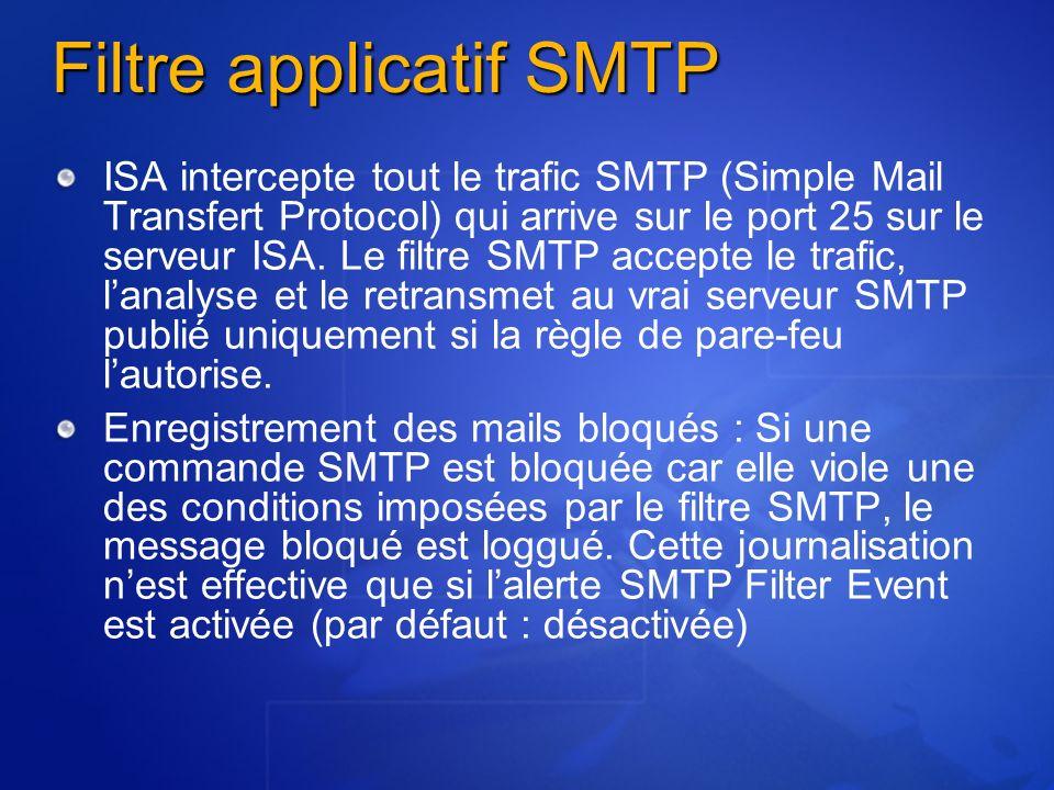 Filtre applicatif SMTP ISA intercepte tout le trafic SMTP (Simple Mail Transfert Protocol) qui arrive sur le port 25 sur le serveur ISA. Le filtre SMT