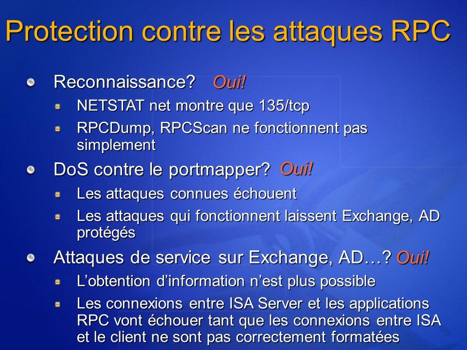 Protection contre les attaques RPC Reconnaissance? NETSTAT net montre que 135/tcp RPCDump, RPCScan ne fonctionnent pas simplement DoS contre le portma