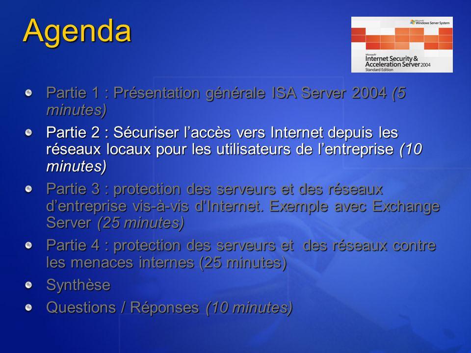 Les besoins des entreprises connectées vus par ladministrateur « Je veux contrôler les protocoles réseaux utilisés par mes utilisateurs » « Je veux administrer les accès de manière centralisée et intégrée avec mon infrastructure (domaines NT, Active Directory, RADIUS) » « Je veux empêcher mes utilisateurs de télécharger des fichiers illégaux ou dangereux » « Je veux quInternet soit un outil de travail et empêcher mes utilisateurs de surfer sur le Web là où ils veulent.
