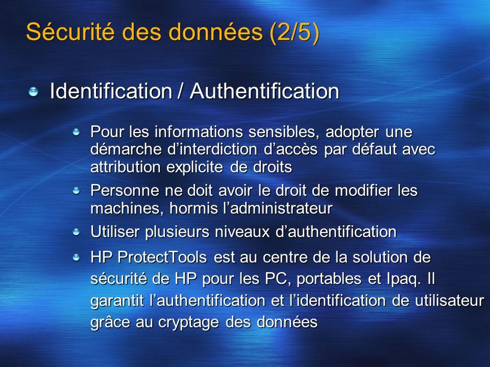 Sécurité des données (2/5) Identification / Authentification Pour les informations sensibles, adopter une démarche dinterdiction daccès par défaut ave