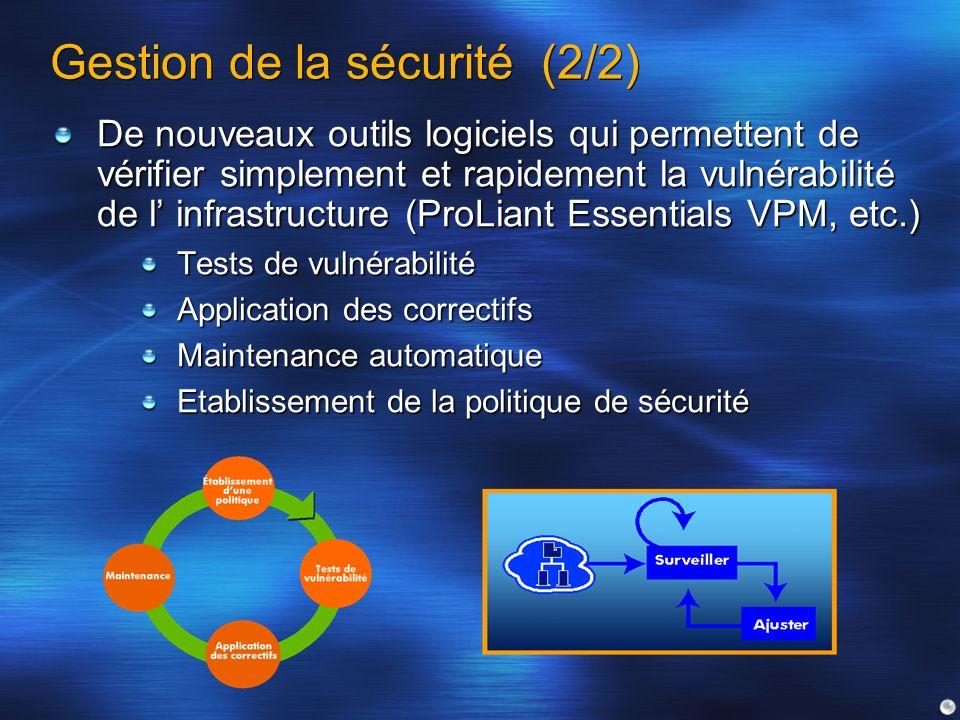 Gestion de la sécurité (2/2) De nouveaux outils logiciels qui permettent de vérifier simplement et rapidement la vulnérabilité de l infrastructure (Pr