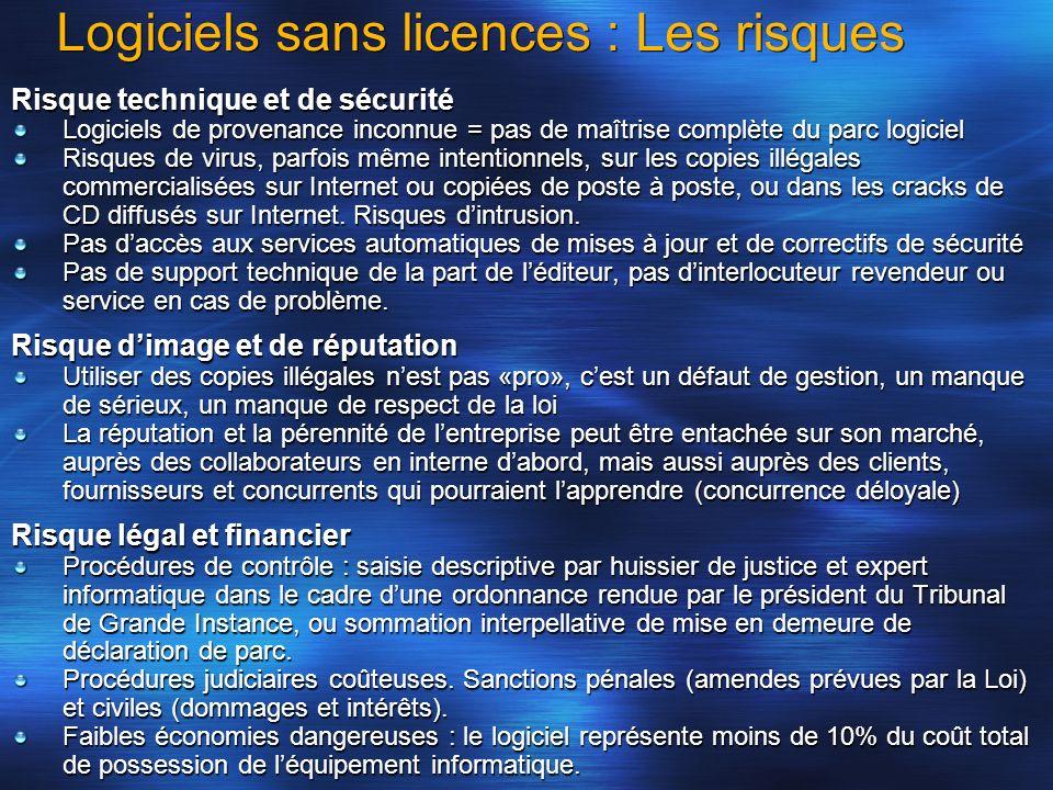 Logiciels sans licences : Les risques Risque technique et de sécurité Logiciels de provenance inconnue = pas de maîtrise complète du parc logiciel Ris