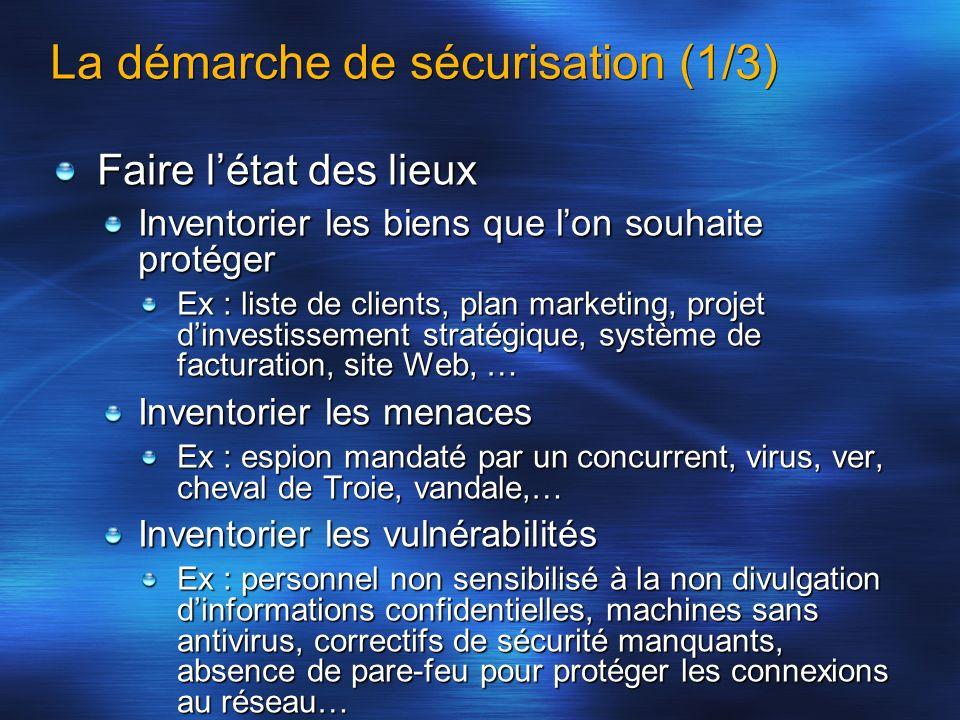 La démarche de sécurisation (2/3) En déduire les risques = menaces x vulnérabilités x valeur des biens On sattachera à diminuer les plus importants A transférer ceux qui sont inacceptables (assurance) A prendre en charge soi-même les autres