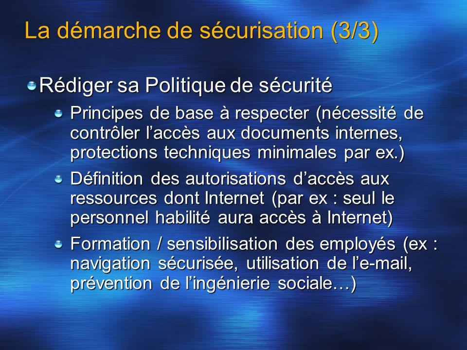 La démarche de sécurisation (3/3) Rédiger sa Politique de sécurité Principes de base à respecter (nécessité de contrôler laccès aux documents internes