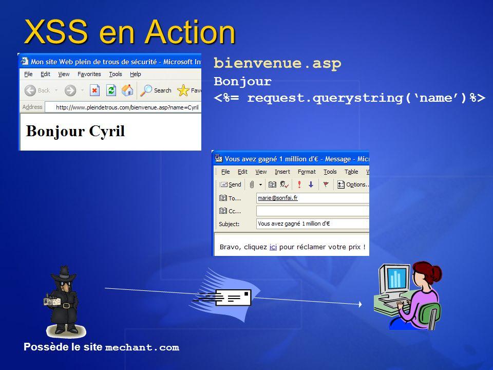 XSS en Action bienvenue.asp Bonjour Possède le site mechant.com