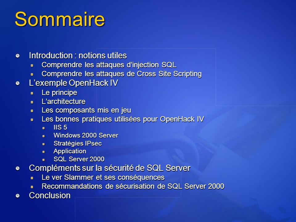 24 janvier 2003 : Slammer Actions 3 outils spécifiques développés en 3 jours Correctif avec installateur automatisé Sortie du SP3a Contenu identique au SP3 avec quelques améliorations (donc pas la peine de le passer si SP3 déjà installé, mais préférable pour de nouvelles installations) Rappel : le SP3 est la première version à avoir suivi le processus de développement Trustworthy Computing Réduit la surface dattaque : pas découte sur le port UDP 1434 Modifications dans la fourniture de SQL Server 2000 et MSDE 2000
