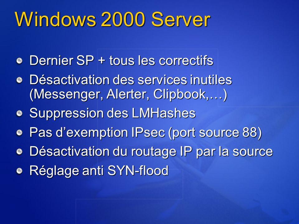 Windows 2000 Server Dernier SP + tous les correctifs Désactivation des services inutiles (Messenger, Alerter, Clipbook,…) Suppression des LMHashes Pas