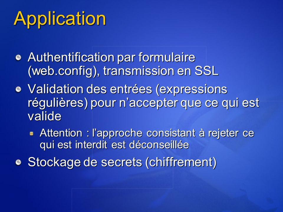 Application Authentification par formulaire (web.config), transmission en SSL Validation des entrées (expressions régulières) pour naccepter que ce qu