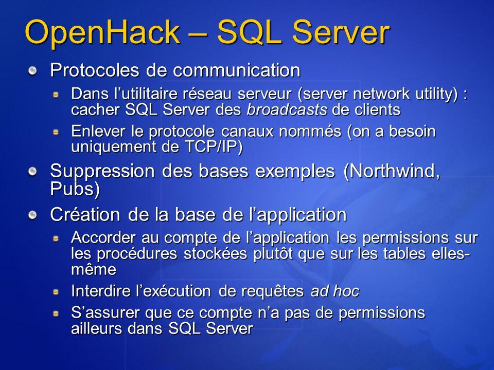 OpenHack – SQL Server Protocoles de communication Dans lutilitaire réseau serveur (server network utility) : cacher SQL Server des broadcasts de clien