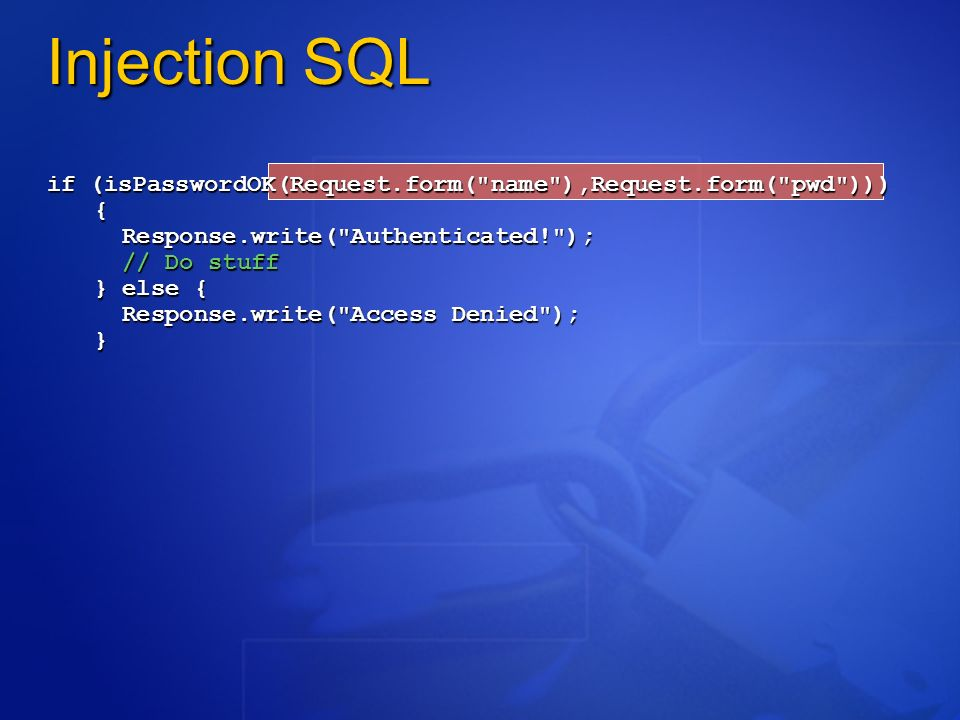 Injection SQL if (isPasswordOK(Request.form(