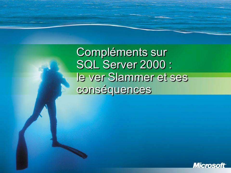 Compléments sur SQL Server 2000 : le ver Slammer et ses conséquences