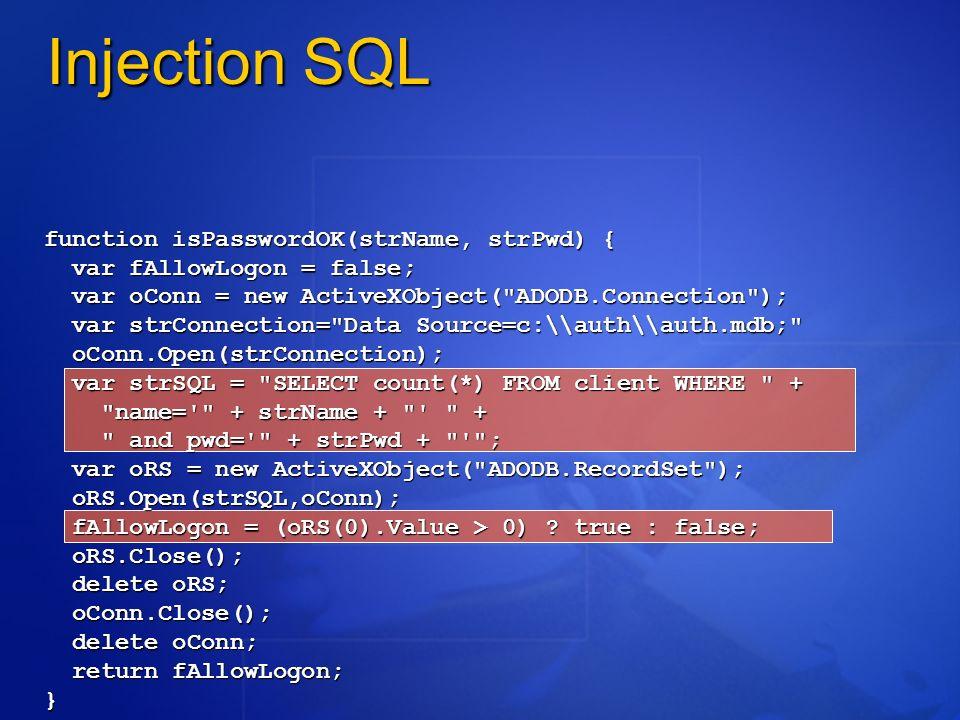 function isPasswordOK(strName, strPwd) { var fAllowLogon = false; var oConn = new ActiveXObject(