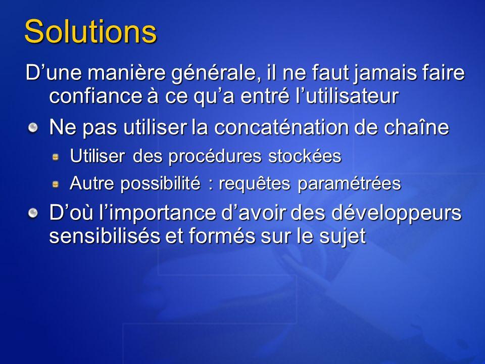Application Chaîne de connexion Non codée en dur dans lapplication !.