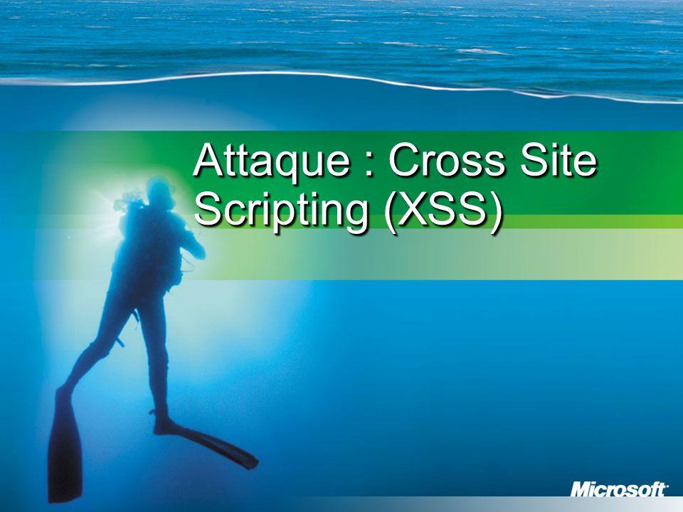 Cross Site Scripting (XSS) Vulnérabilité très courante Une faille côté serveur sert à compromettre le client Lerreur consiste simplement à reproduire les entrées sans les valider .