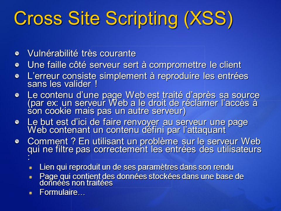 Cross Site Scripting (XSS) Vulnérabilité très courante Une faille côté serveur sert à compromettre le client Lerreur consiste simplement à reproduire