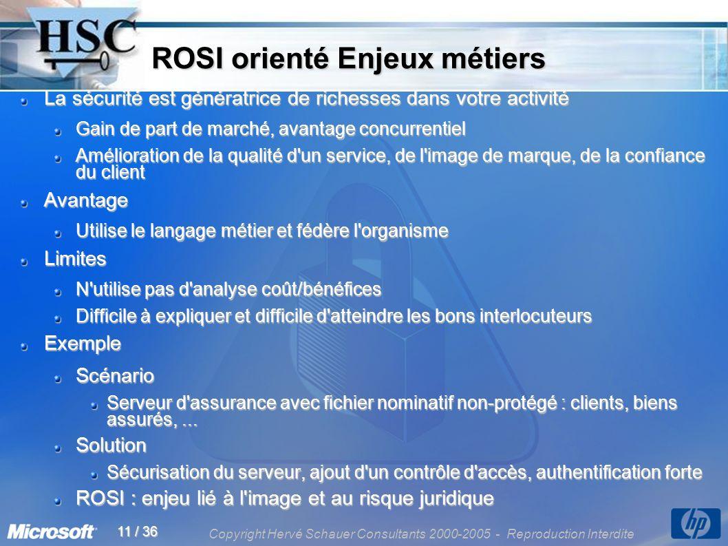 Copyright Hervé Schauer Consultants 2000-2005 - Reproduction Interdite 11 / 36 ROSI orienté Enjeux métiers ROSI orienté Enjeux métiers La sécurité est