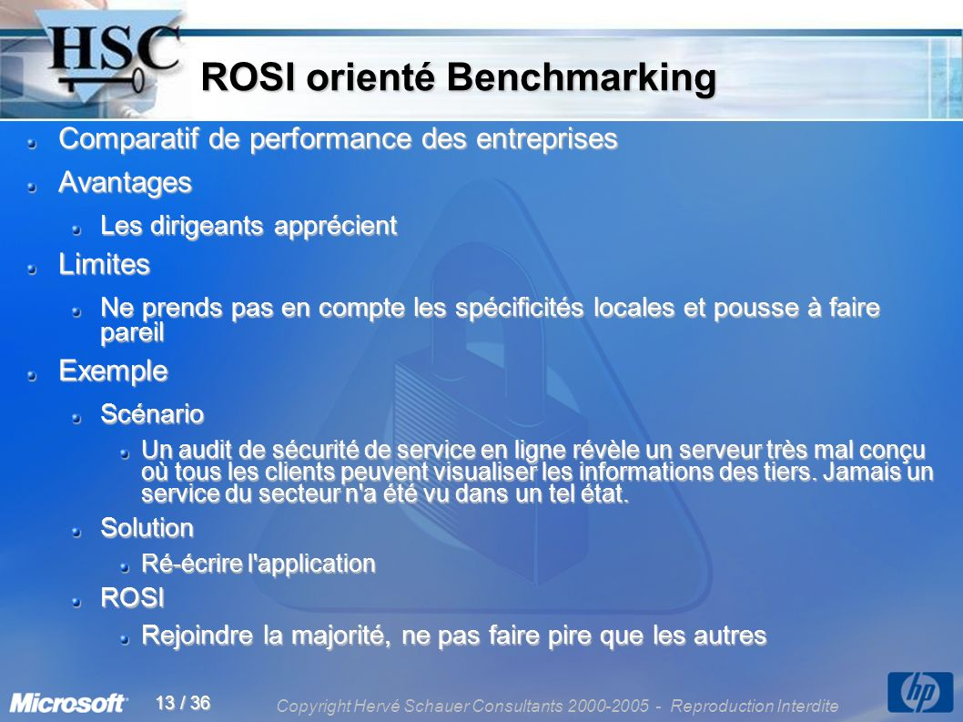 Copyright Hervé Schauer Consultants 2000-2005 - Reproduction Interdite 13 / 36 ROSI orienté Benchmarking ROSI orienté Benchmarking Comparatif de perfo