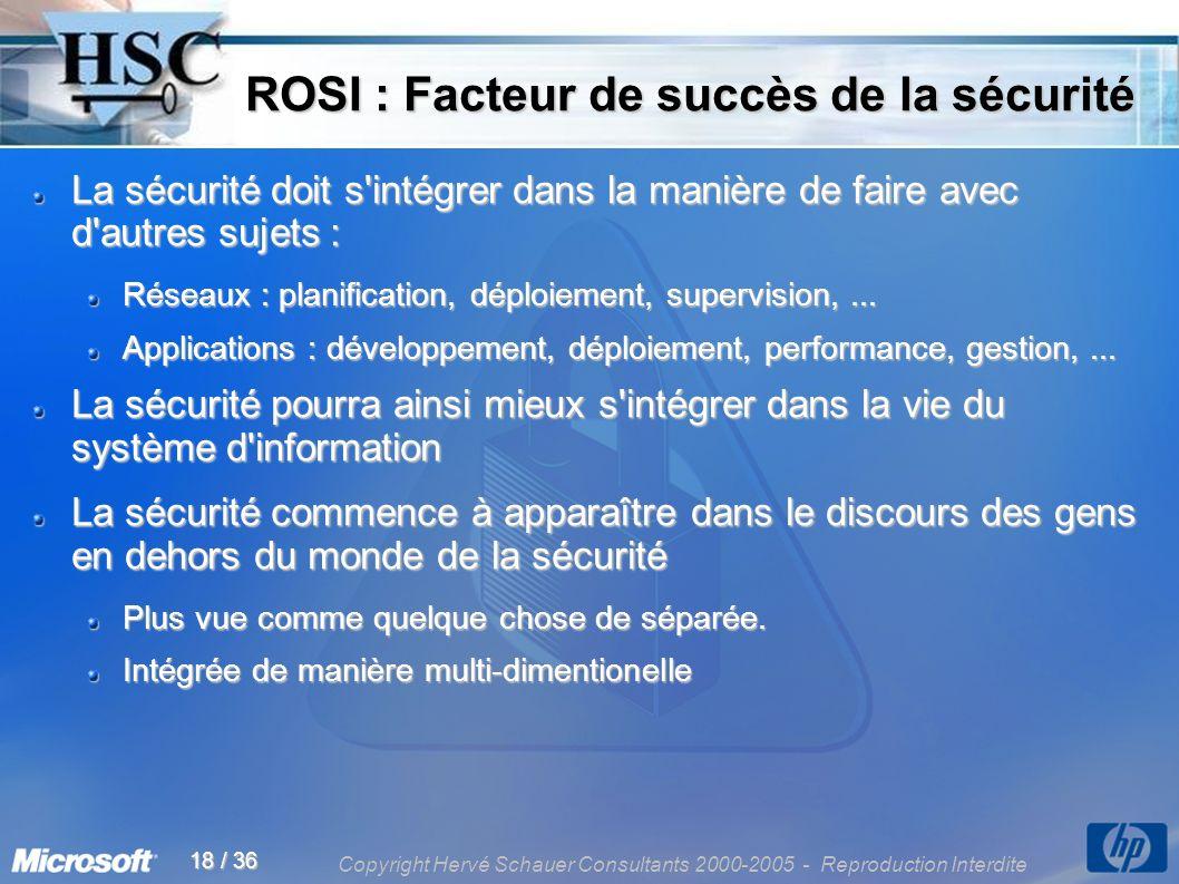 Copyright Hervé Schauer Consultants 2000-2005 - Reproduction Interdite 18 / 36 ROSI : Facteur de succès de la sécurité ROSI : Facteur de succès de la