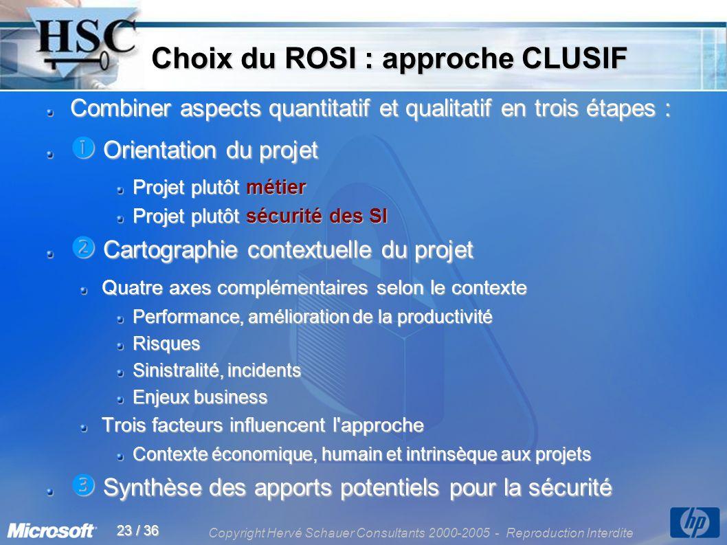 Copyright Hervé Schauer Consultants 2000-2005 - Reproduction Interdite 23 / 36 Choix du ROSI : approche CLUSIF Choix du ROSI : approche CLUSIF Combine