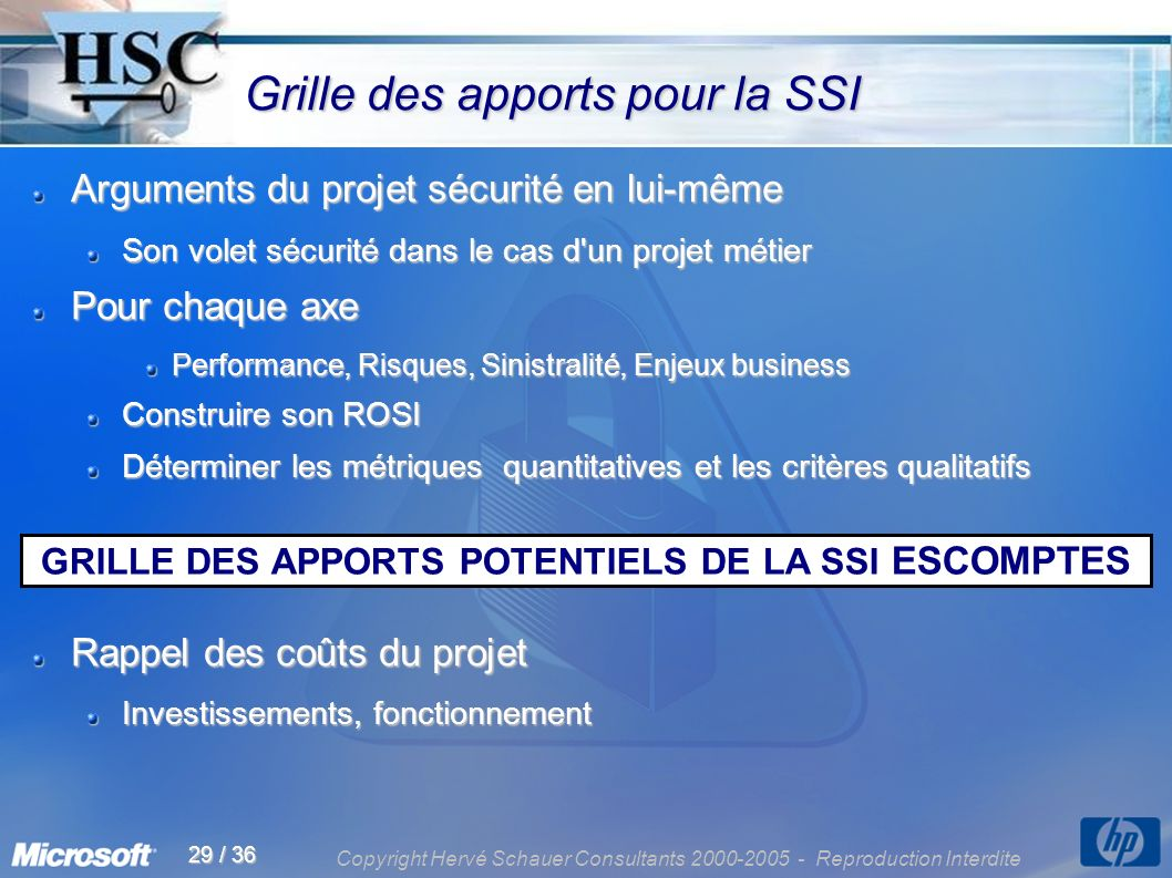 Copyright Hervé Schauer Consultants 2000-2005 - Reproduction Interdite 29 / 36 Grille des apports pour la SSI Grille des apports pour la SSI Arguments