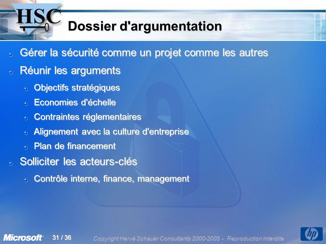 Copyright Hervé Schauer Consultants 2000-2005 - Reproduction Interdite 31 / 36 Dossier d'argumentation Dossier d'argumentation Gérer la sécurité comme