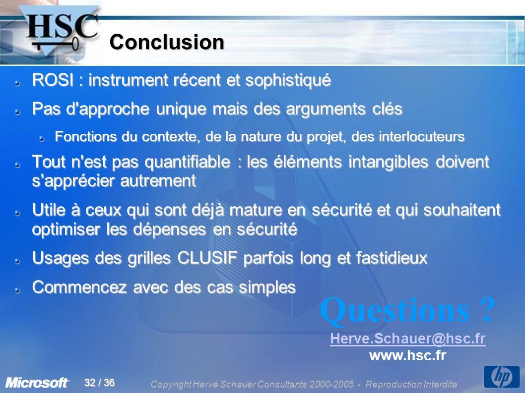 Copyright Hervé Schauer Consultants 2000-2005 - Reproduction Interdite 32 / 36 Conclusion Conclusion ROSI : instrument récent et sophistiqué Pas d'app