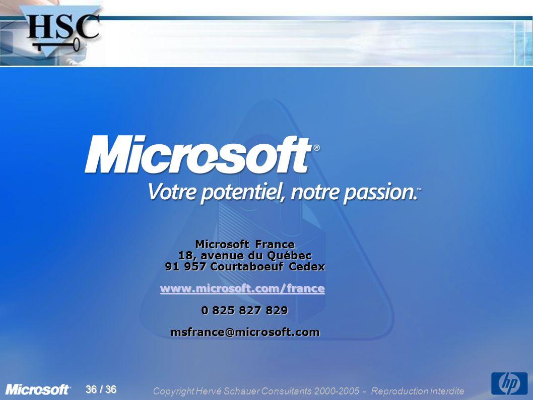 Copyright Hervé Schauer Consultants 2000-2005 - Reproduction Interdite 36 / 36 Microsoft France 18, avenue du Québec 91 957 Courtaboeuf Cedex www.microsoft.com/france 0 825 827 829 msfrance@microsoft.com