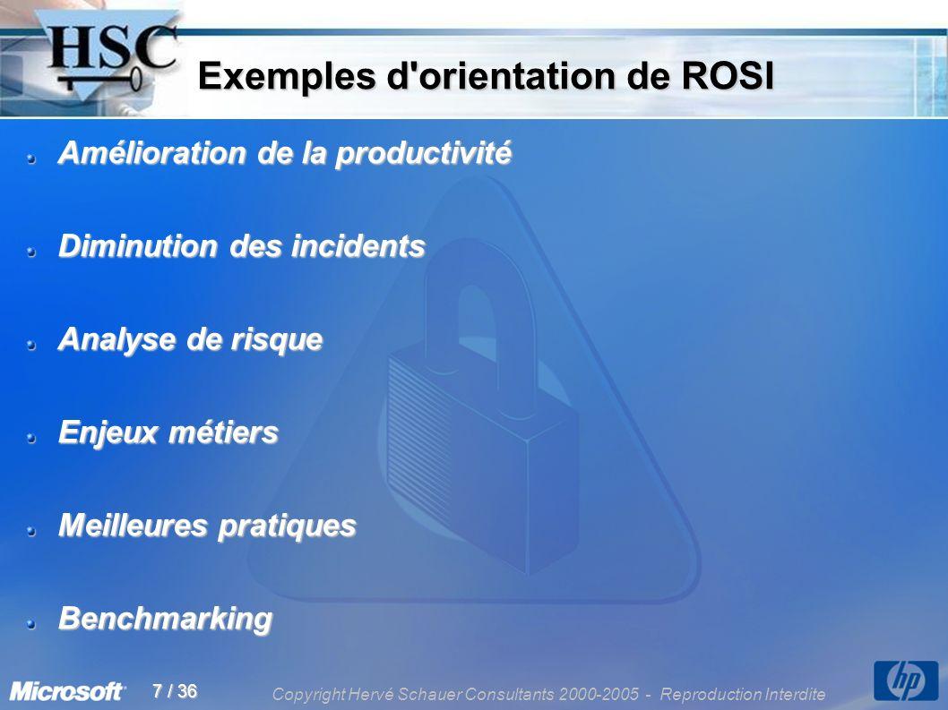 Copyright Hervé Schauer Consultants 2000-2005 - Reproduction Interdite 7 / 36 Exemples d'orientation de ROSI Exemples d'orientation de ROSI Améliorati